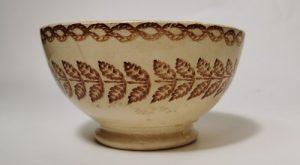 Brown and white spongeware