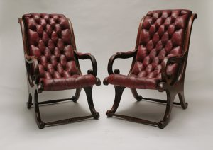Leather mahogany library chairs