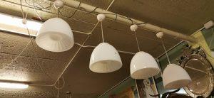 Set of four opaline hanging lights