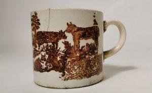 Spongeware cow mug