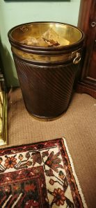 mahogany and brass bound spiral peat buckets