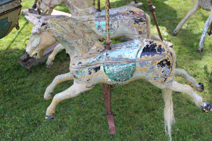 19th C. hand operated carousel horses