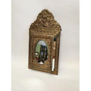 19th C. brass embossed wall mirror