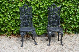 Lot 282 - Pair cast iron high back patio chairs