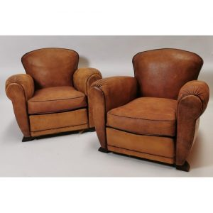 Good quality pair of 1940's leather armchairs