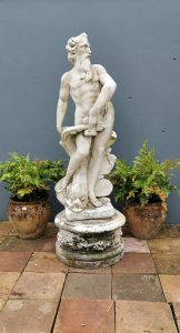 Early 20th. C. composition stone statue - Neptune, The Sea God