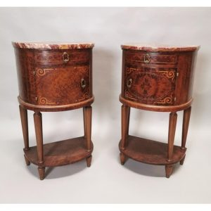 Burr and Walnut Bow Fronted Lockers